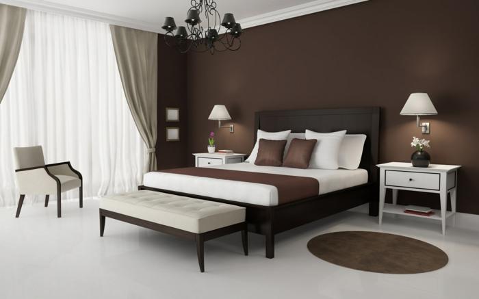 Braune Schlafzimmerwand Fein On Braun Beabsichtigt Schlafzimmer Wand Faszinierend Wande Wohndesign 1