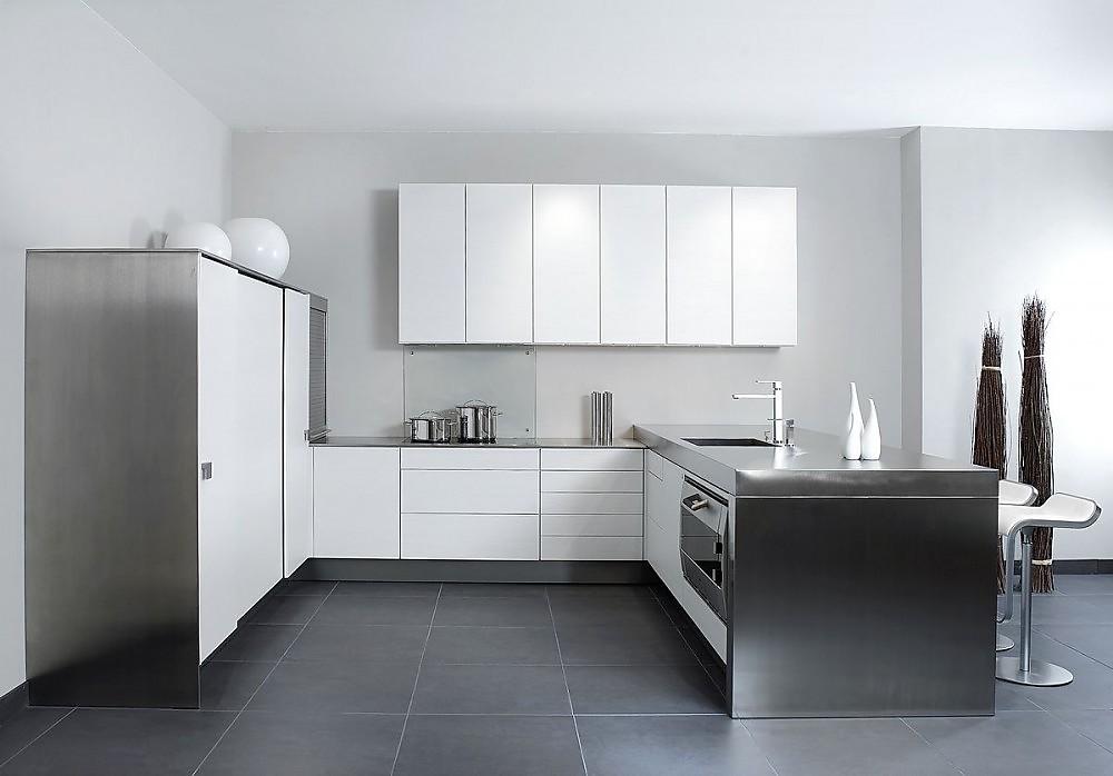 Design Edelstahl Küchen Zeitgenössisch On Andere Und U Form Küche In Cocosweiß Mit 9