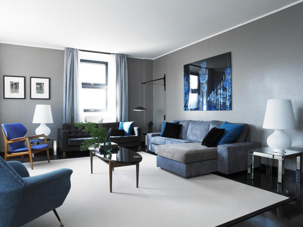 Eine Wand Blau Streichen Wohnzimmer Einfach On Für Weis Beige Braun Attraktiv Richtig 7