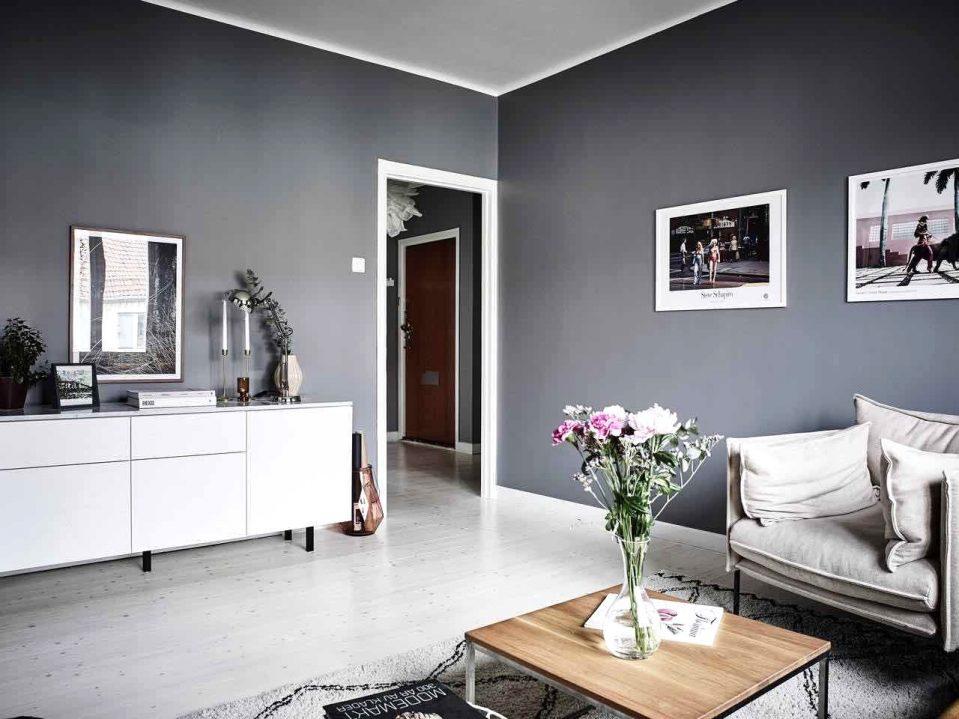 Eine Wand Blau Streichen Wohnzimmer Fein On Für Uncategorized Schönes Und 8