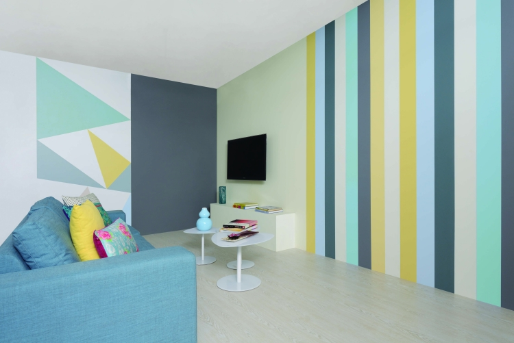 Eine Wand Blau Streichen Wohnzimmer Glänzend On Beabsichtigt 65 Ideen Muster Streifen Und Struktureffekte 6