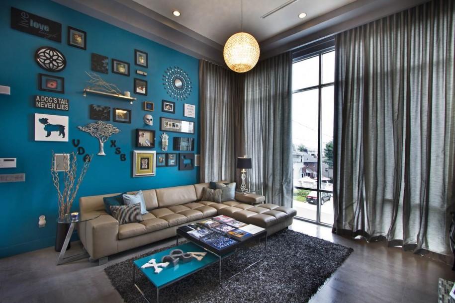 Eine Wand Blau Streichen Wohnzimmer Wunderbar On In Farbpalette Der Wandfarbe FresHouse 3