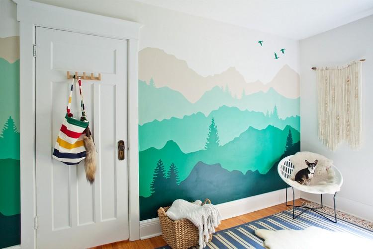 Farbe Wandgestaltung Glänzend On Andere Und Mit Wandgemälde Von Bergen Selber Machen 3