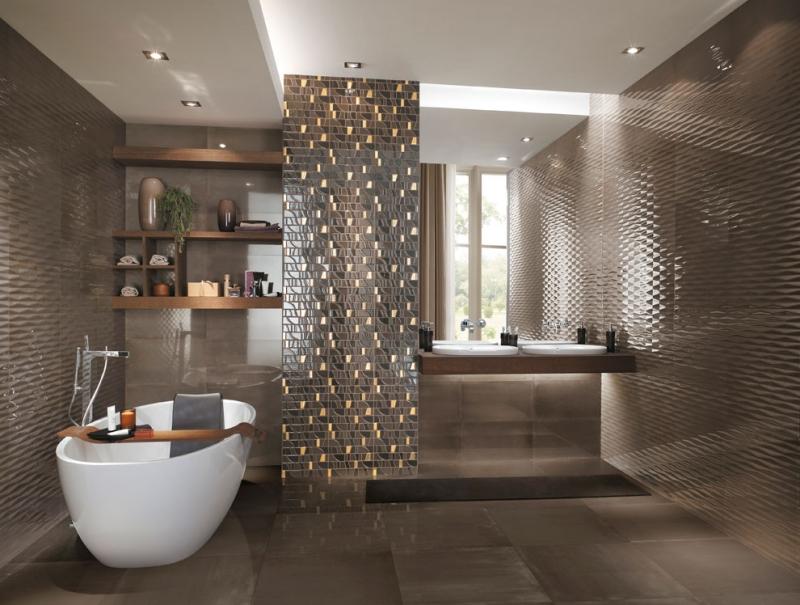 Glasmosaik Fliesen Braun Beige Und Einfach On Beabsichtigt Badgestaltung Mit Badfliesen Designs Im Überblick 5