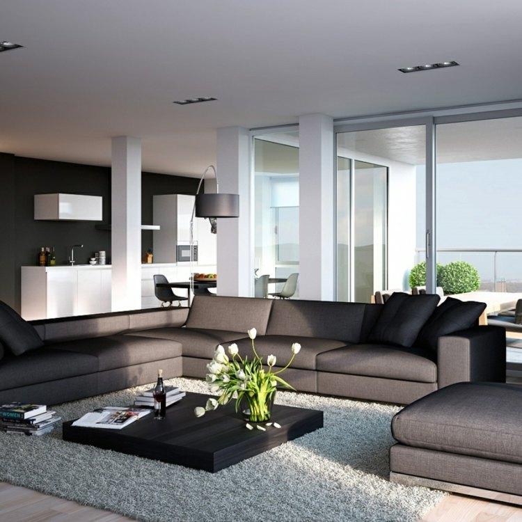 Ideen Für Einrichtung Wohnzimmer Bemerkenswert On Und Schlichtes Design Mit Dunkelgrauer Couch Weißer 7