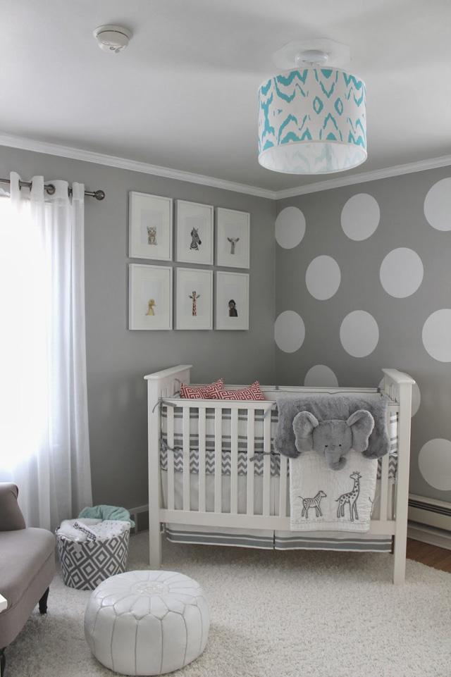 Ideen Für Wände Im Kinderzimmer Modern On Beabsichtigt Wandfarbe Grau Und Wand Streichen Muster Weiße Punkte Neutrale 4