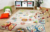 Kinder Teppich Beige Gelb