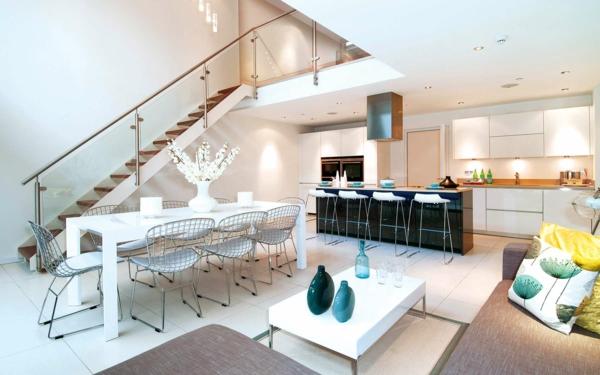 Küche Und Wohnzimmer In Einem Raum Modern Beeindruckend On Beabsichtigt Modernes Einrichten Wohn Küchenraum Kombinieren 9