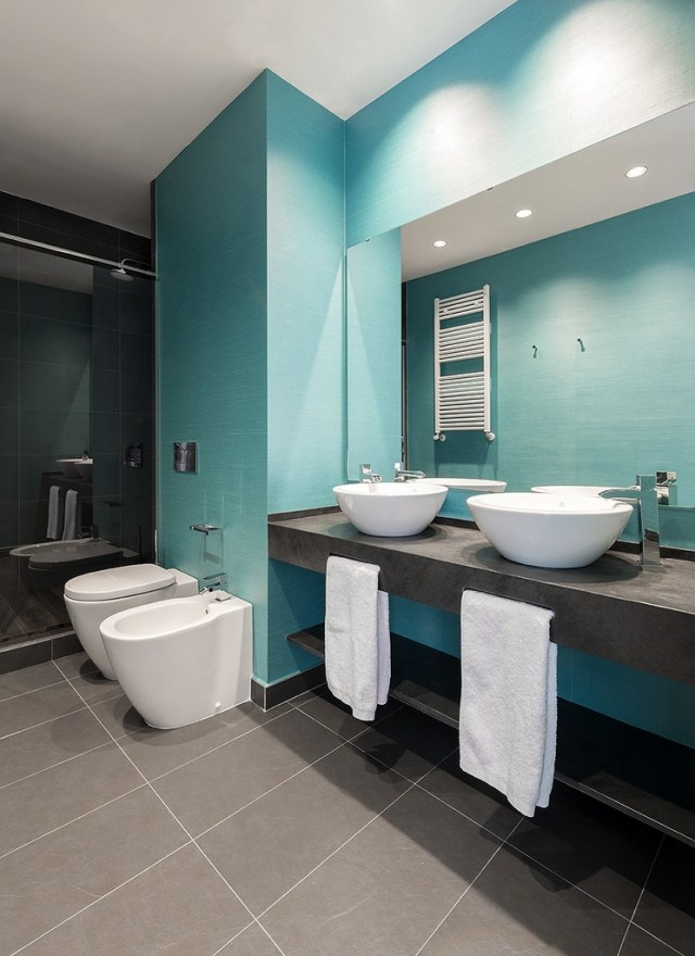 Moderne Badezimmer Türkis Beeindruckend On Auf Bilder Grau Aqua Fliesen Doppelwaschtisch Runde 1