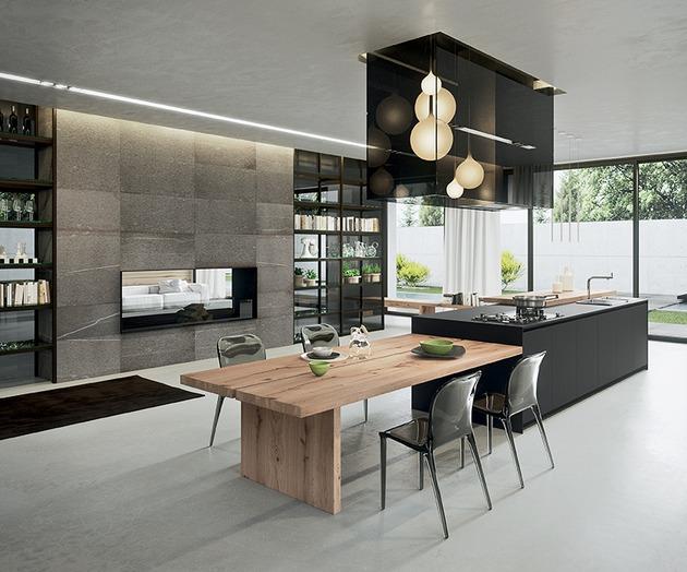 Moderne Küche Mit Kochinsel Interessant On Modern Italien Holz Esstisch Integriert Ideen 7