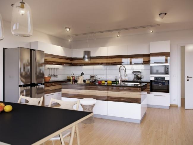 Moderne Wohnküche Weiss Mit Holz Fein On Modern Für Wohnideen Die Küche Weiß Hochglanz Walnuss Design 4