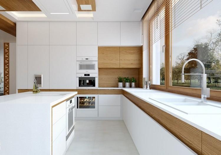 Moderne Wohnküche Weiss Mit Holz Glänzend On Modern In 41 Küchen Eiche Helles Liegt Im Trend 1 ...