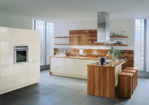 Moderne Wohnküche Weiss Mit Holz Modern On Innerhalb Küche Weiß Kochkor Info 7