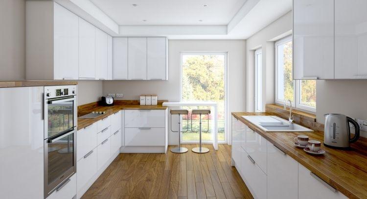 Moderne Wohnküche Weiss Mit Holz Stilvoll On Modern Für Geräumige Küche Zwei Zeilen Weiße Hochglanz Fronten Und 5