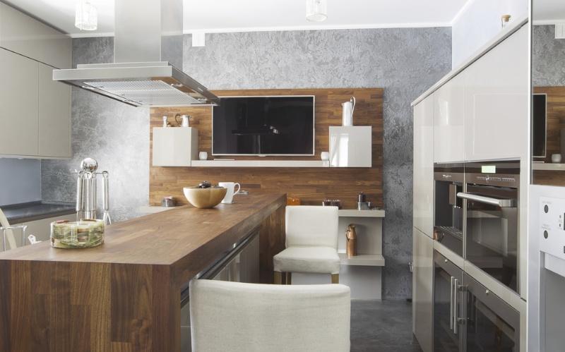Moderne Wohnküche Weiss Mit Holz