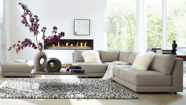 Modernes Wohnzimmer Beige Nett On Für Einrichten In Den Farben Grau Oder Weiß 1