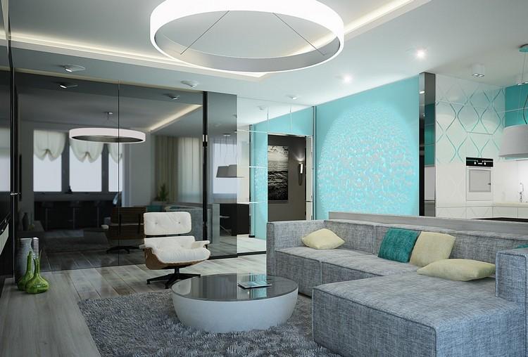 Modernes Wohnzimmer Beige Türkis Zeitgenössisch On In Einrichten 26 Ideen Und 1