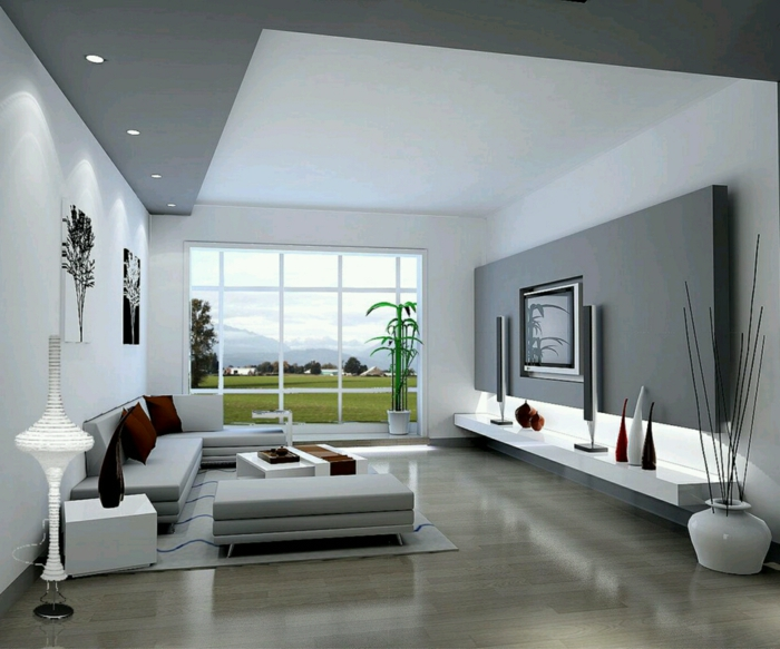 Modernes Wohnzimmer Grau Stilvoll On Modern Mit Cabiralan Com 1