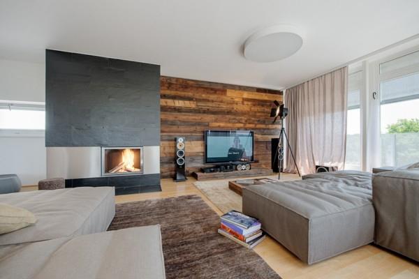Modernes Wohnzimmer Mit Kamin Erstaunlich On Modern In Bezug Auf Wandverkleidung Holz Ecru Sofa Media 9