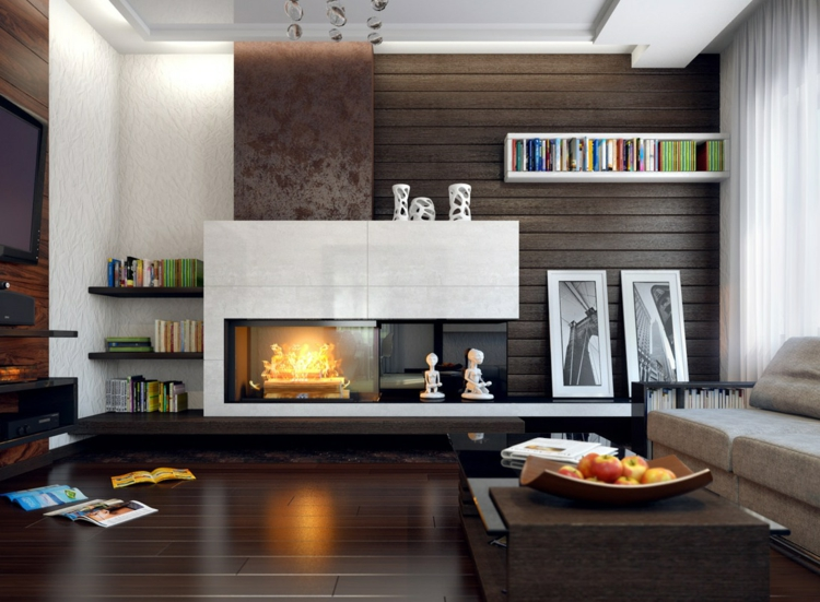 Modernes Wohnzimmer Mit Kamin Frisch On Modern Für Lovely Gestalten 43 Ideen Wärme 5