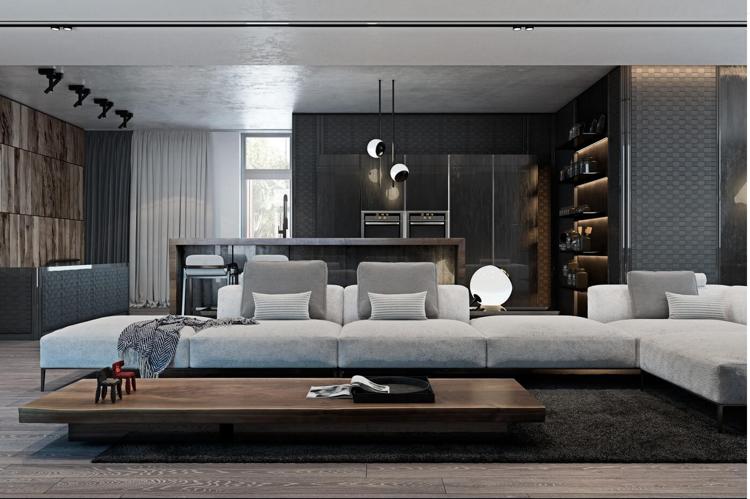 Modernes Wohnzimmer Schwarz Weiß Laminat Herrlich On Modern Mit Weiss Holz Full Size Of Moderne Huser 7