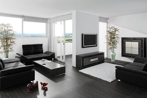 Modernes Wohnzimmer Schwarz Weiß Laminat Schön On Modern Innerhalb 3