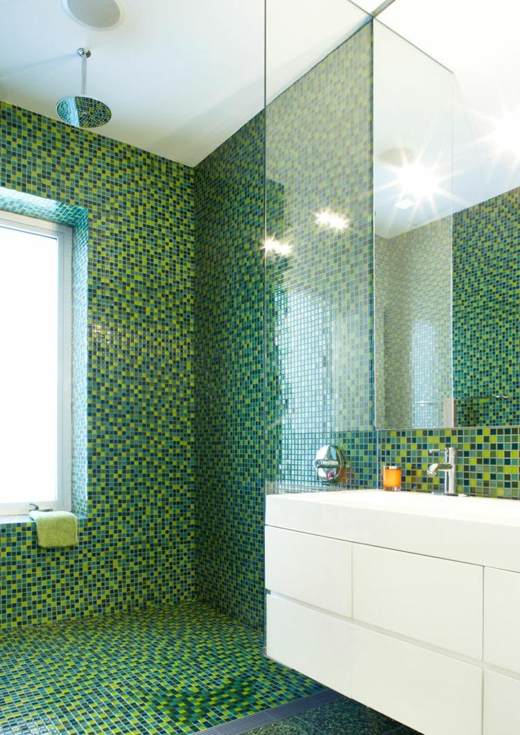 Mosaik Badezimmer Glänzend On Und Fliesen Für Bad Ideen Betonung Einzelner Bereiche 1