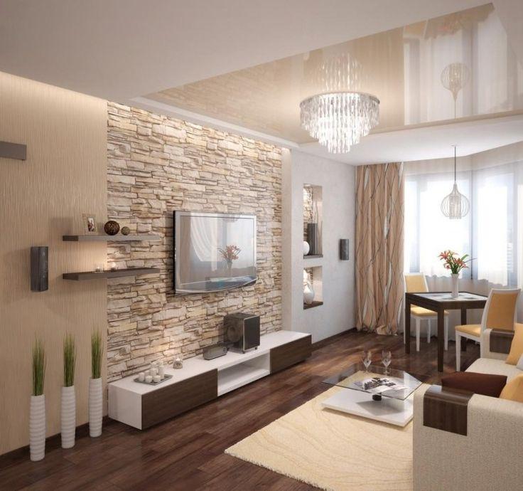 Raumgestaltung Wohnzimmer Bemerkenswert On Auf Natursteinwand Im Und Warme Beige Nuancen Wohnideen 3