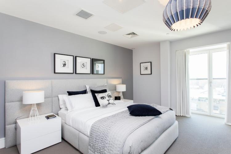 Schlafzimmer Blaugrau Einfach On Und Wandfarbe Grau Im 77 Gestaltungsideen 5