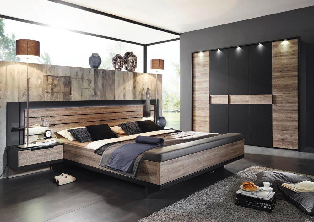 Schlafzimmer Creme Braun Schwarz Grau