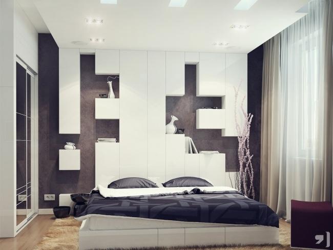 Schlafzimmer Ideen Wandgestaltung Braun Einfach On Für Wand Hinter Bett Weiß Regale Kuben 8