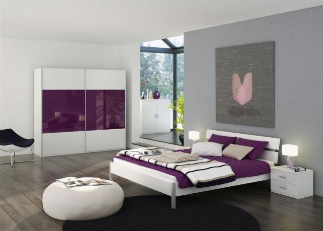 Schlafzimmer Lila Grau