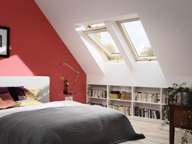 Schlafzimmer Schräge Streichen Perfekt On Beabsichtigt Dachschräge Ideen Ziegelrot Weiß Home 6
