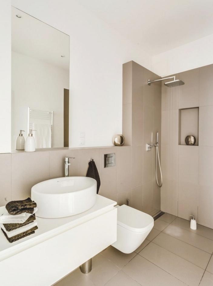 Schönes Kleines Bad Beige Fliesen Modern On In Bezug Auf Wohnzimmer Unpersnliche 1
