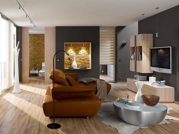 Steinwand Wohnzimmer Braun Einfach On Auf Im 30 Inspirationen Von Klimex 8