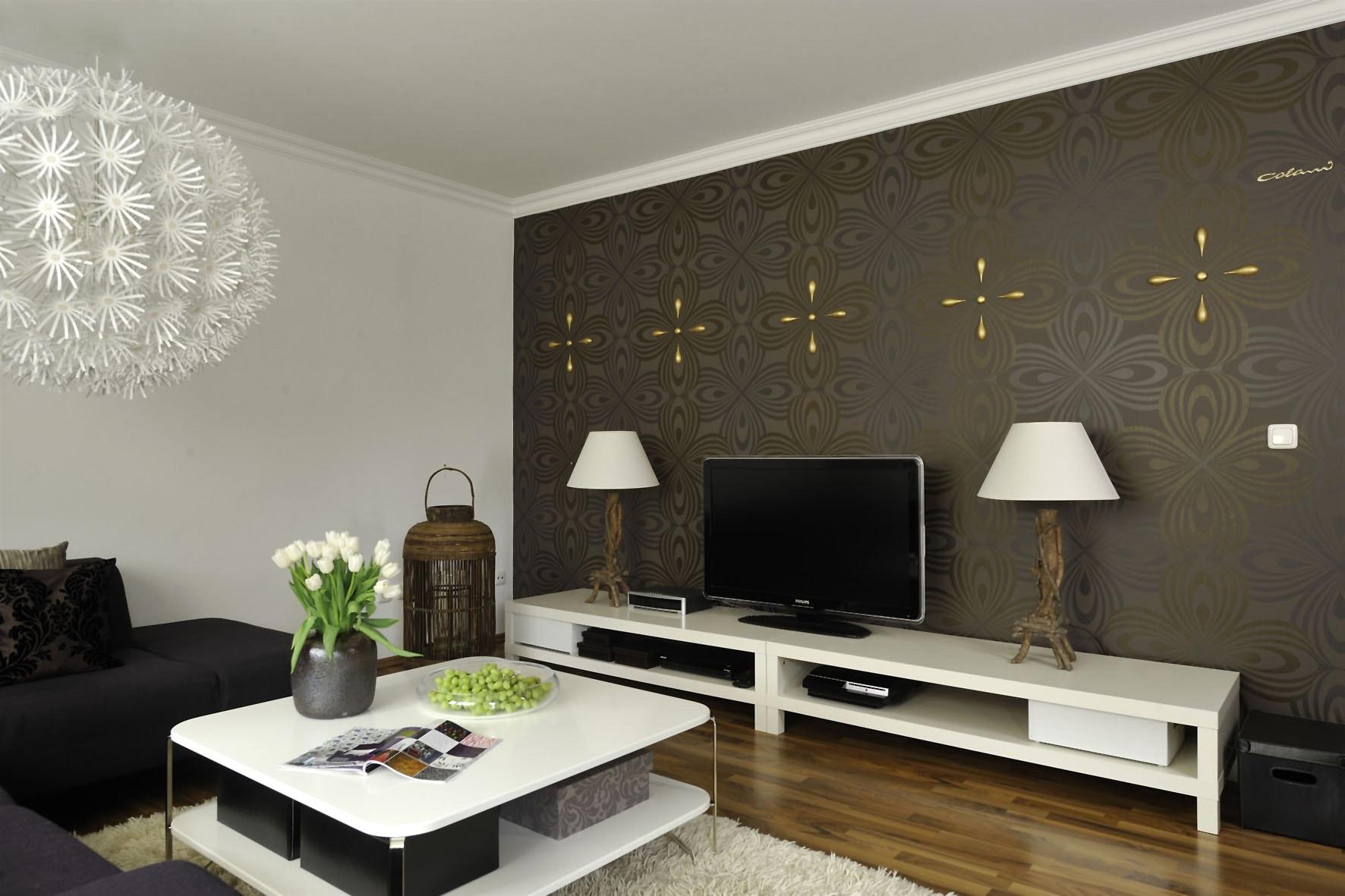 Tapete Braun Beige Akzent Wand Wohnzimmer Erstaunlich On Für Wandgestaltung Konzept 1