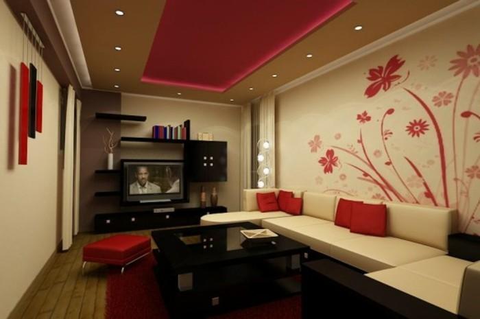Wand Ideen Wohnzimmer Erstaunlich On Mit 120 Wandgestaltung Archzine Net 3