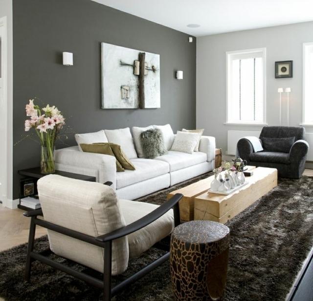 Wandfarbe Wohnzimmer Modern Charmant On Und Grau Streichen Ideen 7