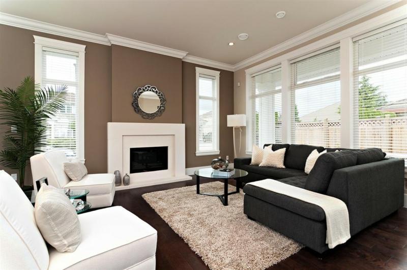 Wandgestaltung Beige Braun Charmant On Mit In 50 Wohnzimmer Wohnideen 9