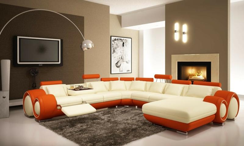 Wandgestaltung Beige Braun Modern On Beabsichtigt Wohnzimmerwand Schn Wohnzimmer Und 1