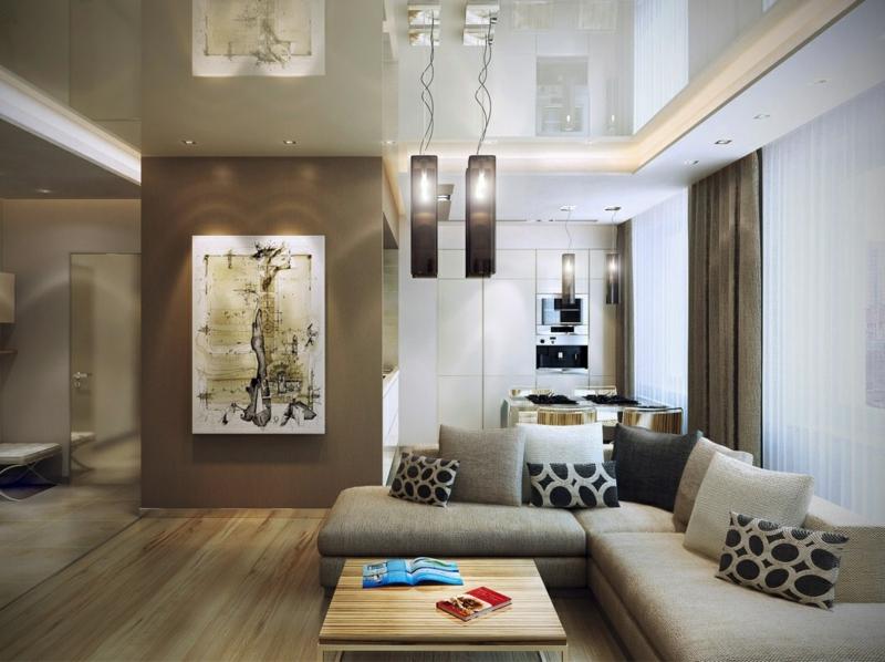 Wandgestaltung Weiß Braun Nett On In Bezug Auf 50 Wohnzimmer Wohnideen 4