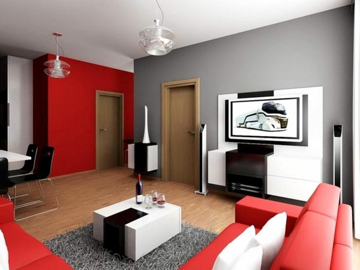 Wandgestaltung Wohnzimmer Grau Rot Charmant On In Bezug Auf Und Arkimco Com 2