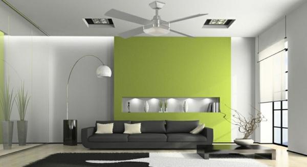Wandgestaltung Wohnzimmer Grün Braun Imposing On Für Ideen Grau Grun Moderne Deko Grn 6