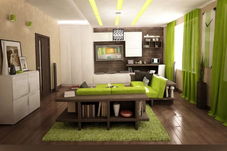 Wandgestaltung Wohnzimmer Grün Braun Kreativ On Auf Innenarchitektur Kleines Gestalten Grun 9