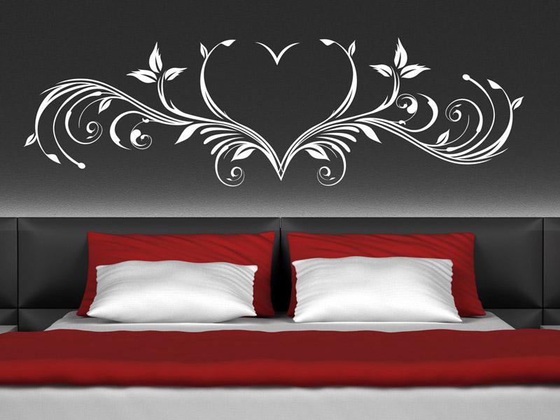 Wandtattoo Schlafzimmer Kreativ On Und Herz Ornament Romantisch Wandtattoos De 4