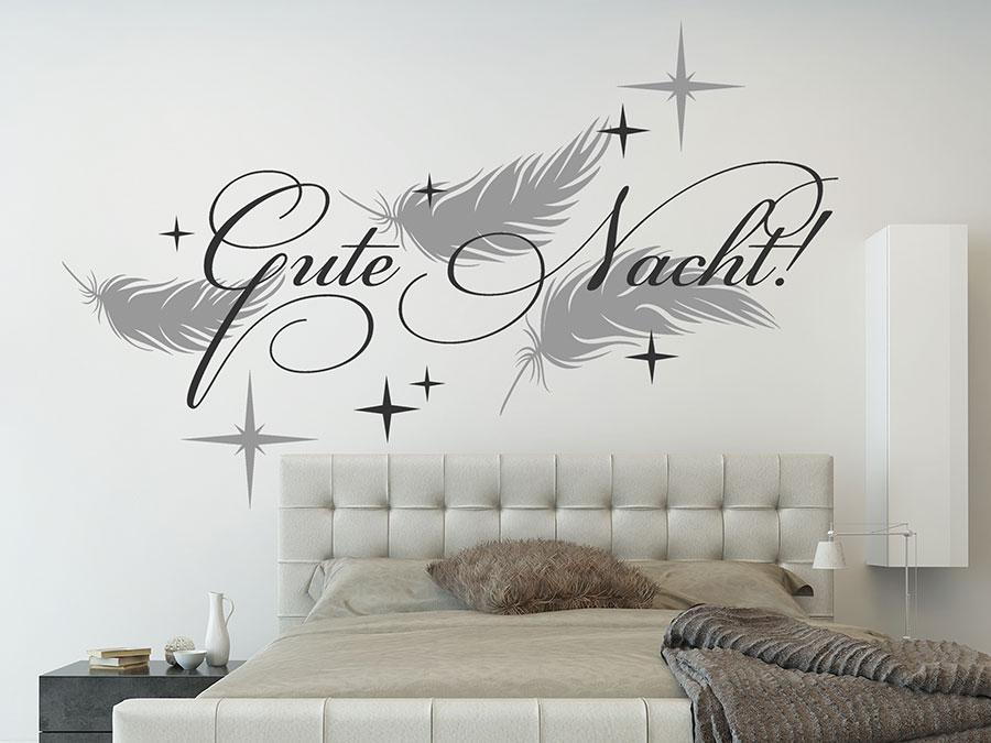 Wandtattoo Weiß Schlafzimmer Charmant On Mit Gute Nacht Federn Und Sternen WANDTATTOO DE 4