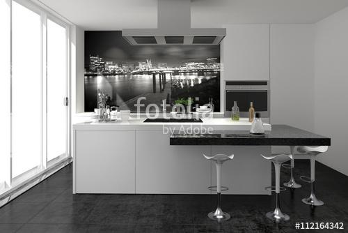 Weiss Küche Mit Kochinsel Beeindruckend On Andere In Bezug Auf Weiß Modern Küchenzeile Einbauküche Stockfotos 7