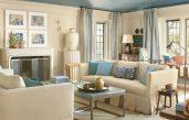 Wohnzimmer Beige Blau