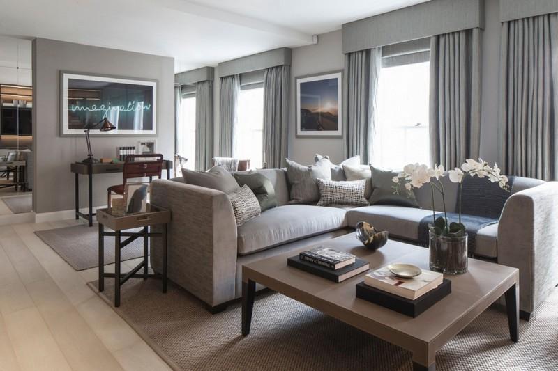 Wohnzimmer Beige Braun Grau