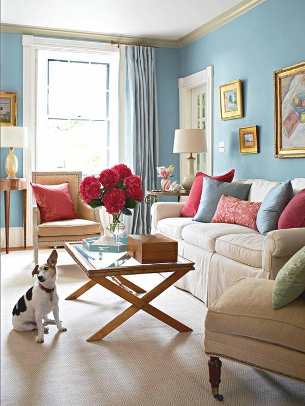 Wohnzimmer Blau Grau Rot